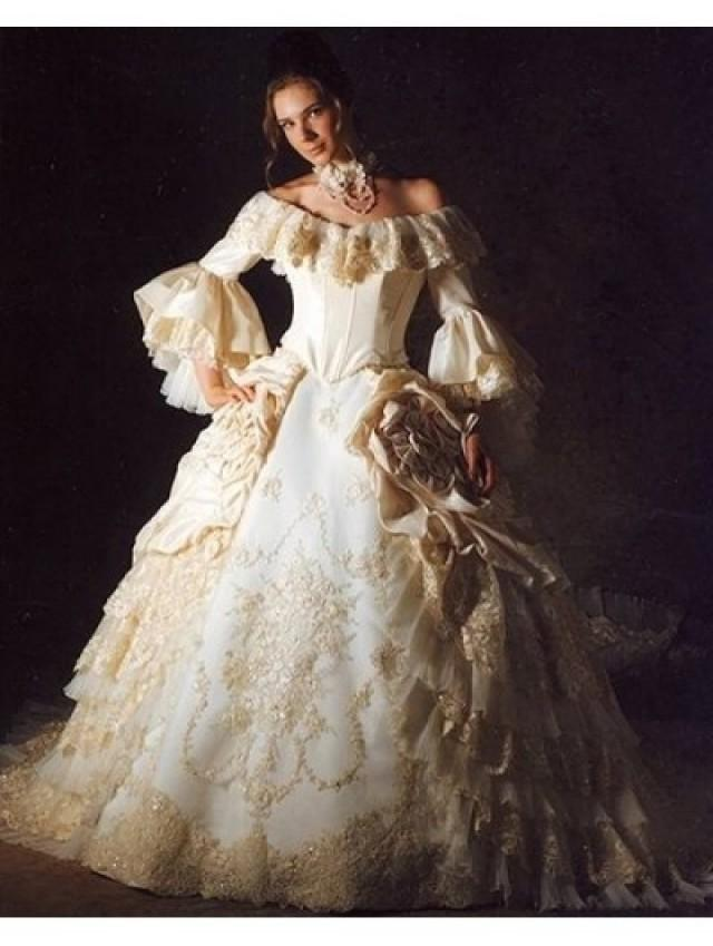 Off The Shoulder 34 Trumpet Sleeves Queen Style Victorian Wedding