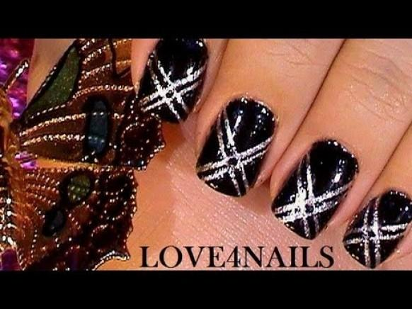 Quick And Easy Black Silver Short Nail Art Design Tutorial
