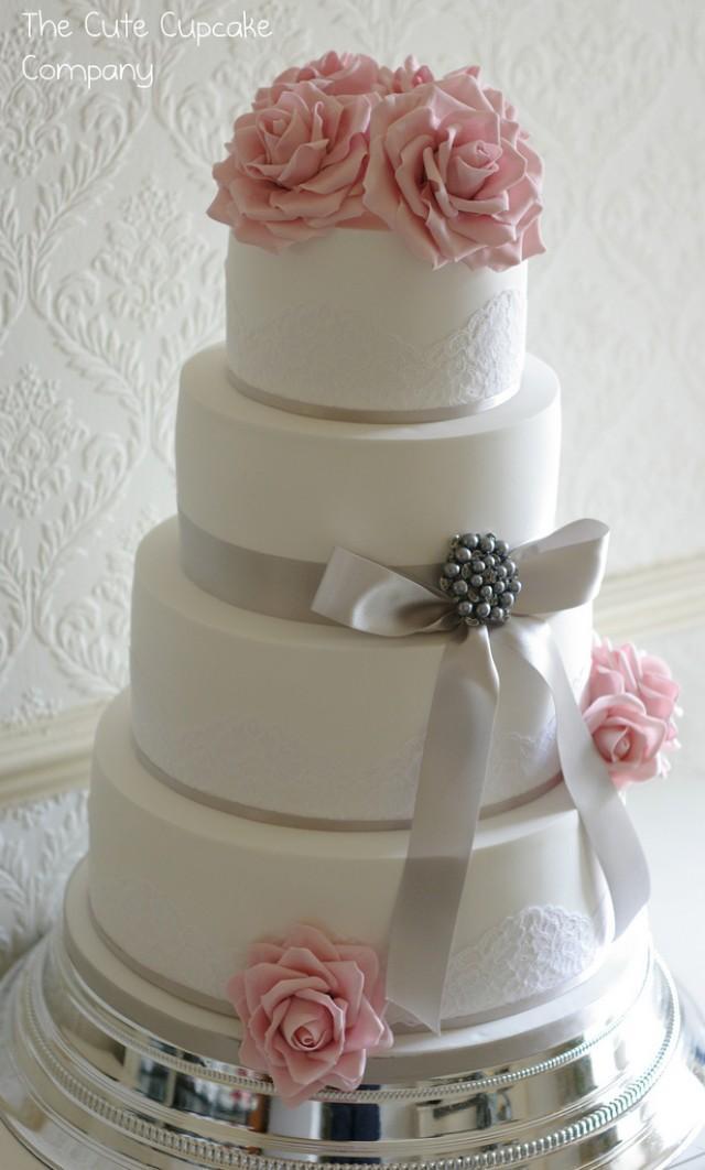 Pink And Dove Grey Wedding Cake