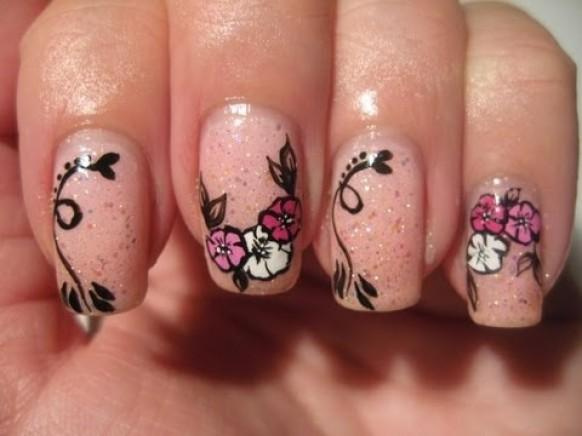Wedding Nail Designs Nail Art Quick Flowers On Pink Glitter