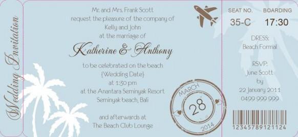 Palm Breeze Boarding Pass Invite In Eggshell Blue Dreamday
