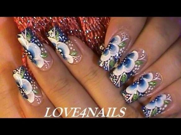 How To Paint A Blue One Stroke Flower Nail Art Design Tutorial