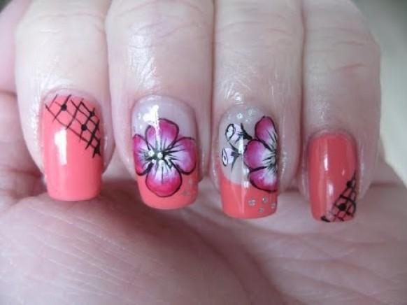 Nail Art Coral French With One Stroke Flower 1981067 Weddbook