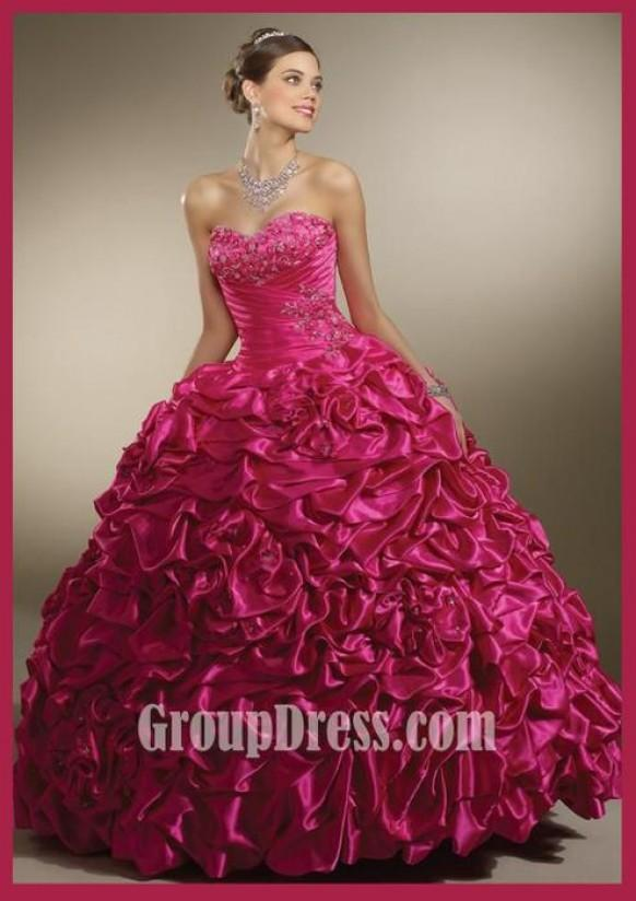 sophisticated rose satin pick-up quinceanera gown  1981474