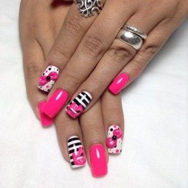 Black White Pink Nail Art Designs: Black, White, Pink Nail Design