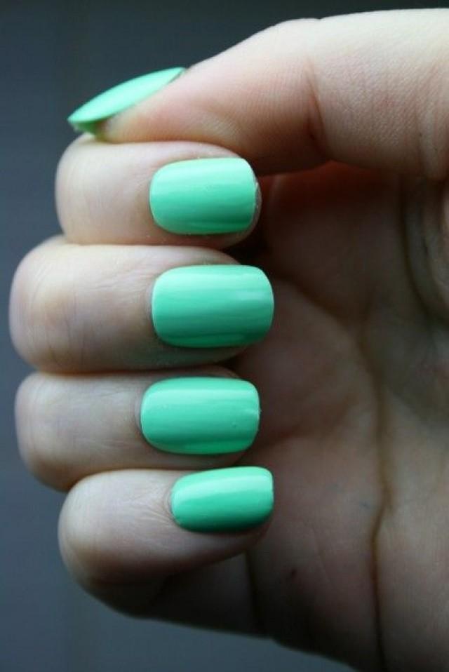 Mint Wedding - Bright Mint Nails. #2029469 - Weddbook
