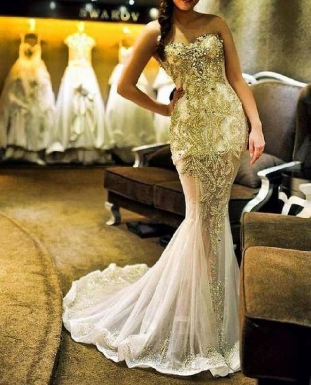 White Gold Mermaid Wedding Dresses – Dresses for Woman