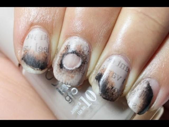Wedding Nail Designs Burned Newspaper Nail Art 2029951 Weddbook