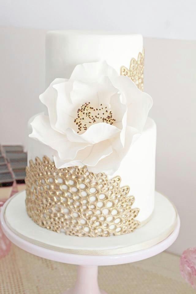 abbastanza Nozze D'Avorio - Oro Pizzo D'Avorio Wedding Cake #2030069 - Weddbook PX11