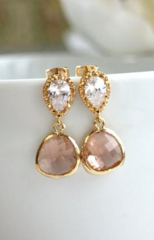 Einen Vergoldeten Champagne Peach Drop Juwelen Ohrringe