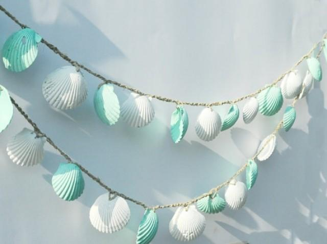 Seashell garland beach wedding decoration mint green and for Shabby chic garland lights