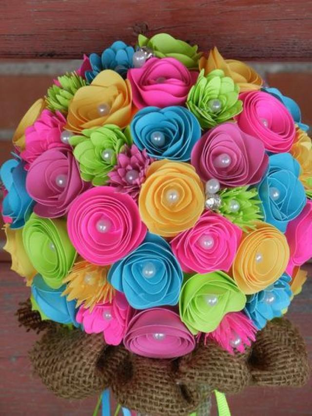 Handmade Paper Flower Wedding Bouquet Bright Colors Pink Teal