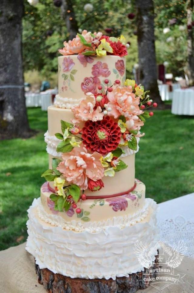 Rustic Wedding Rustic Floral Hand Painted Wedding Cake