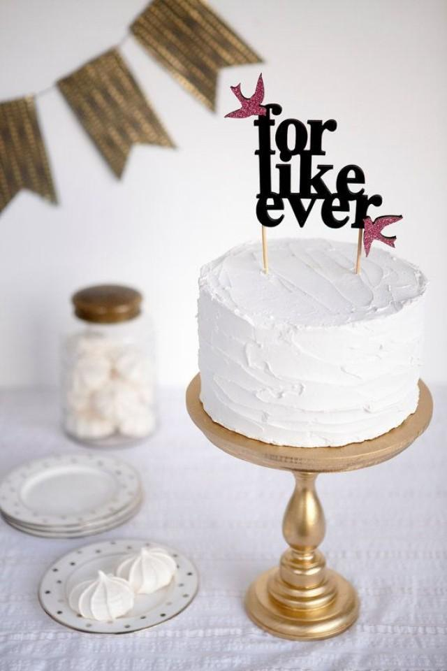 For Like Ever Wedding Cake Topper With Hot Pink Glitter