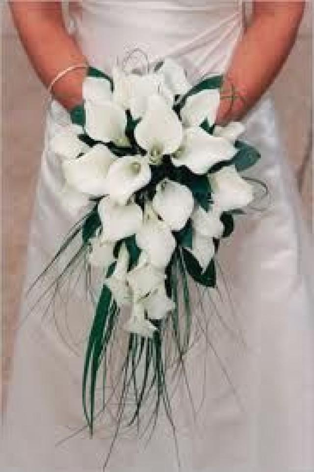 White Calla Lily Cascade Bridal Bouquet 2043220 Weddbook