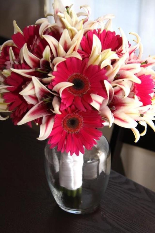 Bouquet Flower Stargazer Lilies And Gerbera Daisies 2043221 Weddbook