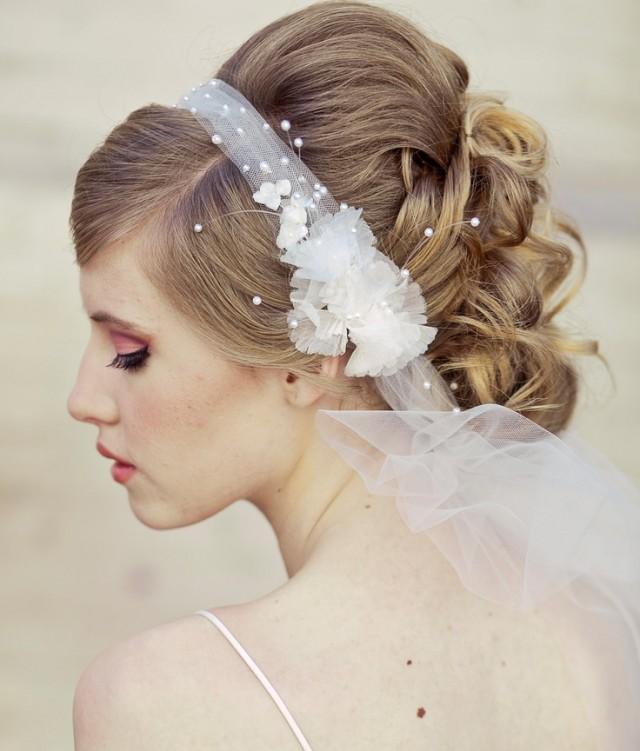 Wedding Veil Tie Headband Of Net And Vintage Flowers