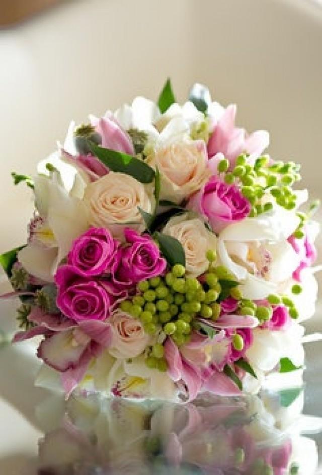 Green Wedding Pink White Green Wedding Bouquet 2045878 Weddbook