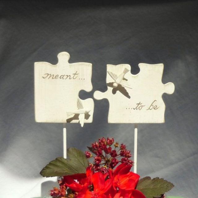 Morceau De Puzzle G 226 Teau De Mariage Topper Avec Oiseaux D
