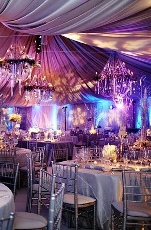 All Silver Winter Wedding Made Dramatic With The Purple And Aqua Lighting 2046707