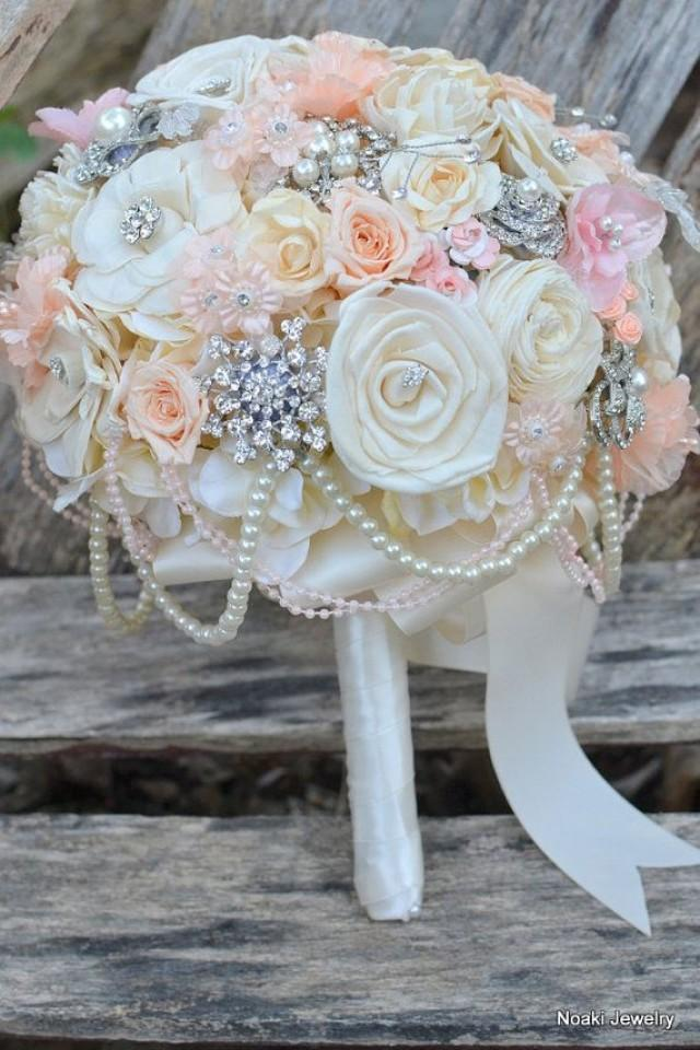 peaches and pearls wood and rose brooch bouquet made to order wedding brooch bouquet 2047110. Black Bedroom Furniture Sets. Home Design Ideas