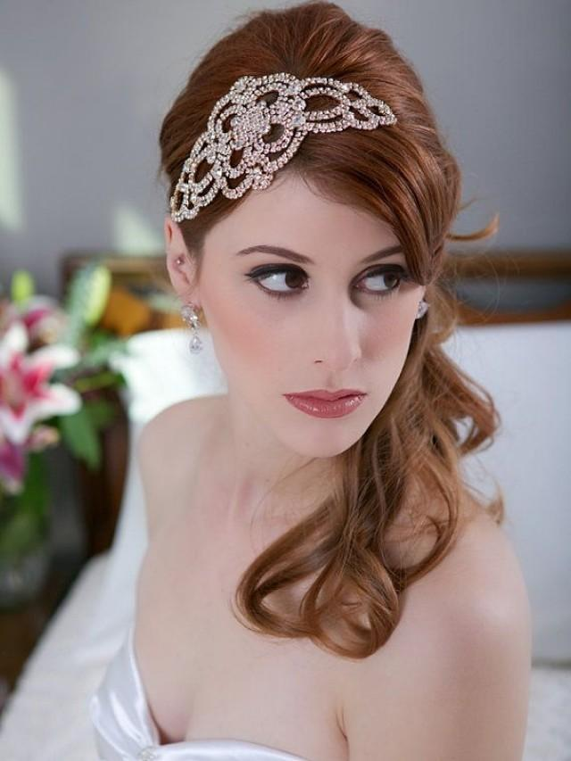 Crystal Gold Headpiece Crystal Wedding Head Piece Art