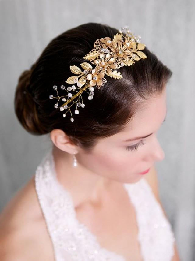 Gold Flower Bridal Headband Pearl Crystal Hair Piece