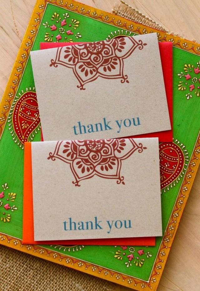 Henna Love Modern Indian Wedding Thank You Cards Orange