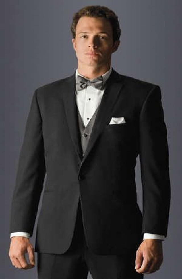 Groomsmen Gifts - Black Suit With Grey Bow Tie And Vest. #2048874 ...