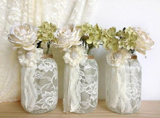 3 Ivory Lace Covered Jar Vases Bridal Shower Decoration Wedding Decor Home Decoration Gift