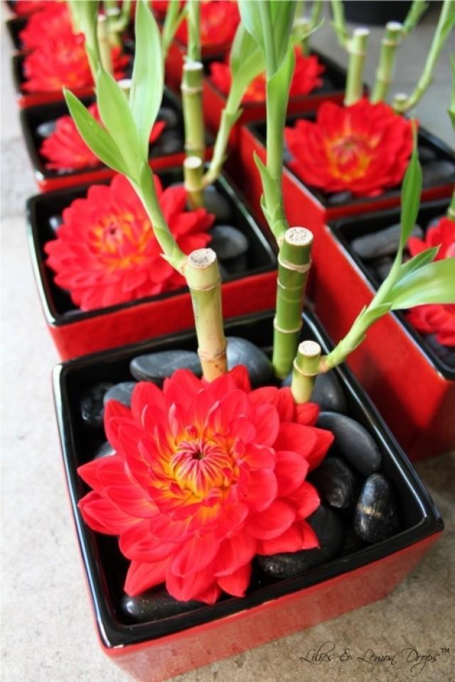 Oriental Wedding Dahlia Amp Luck Bamboo Centerpiece