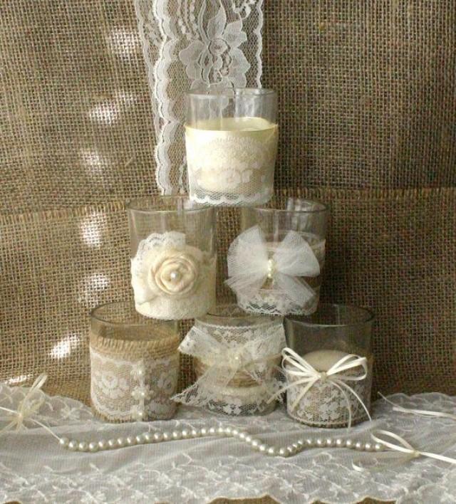 Burlap And Lace Wedding Tea Candles, Victorian Wedding