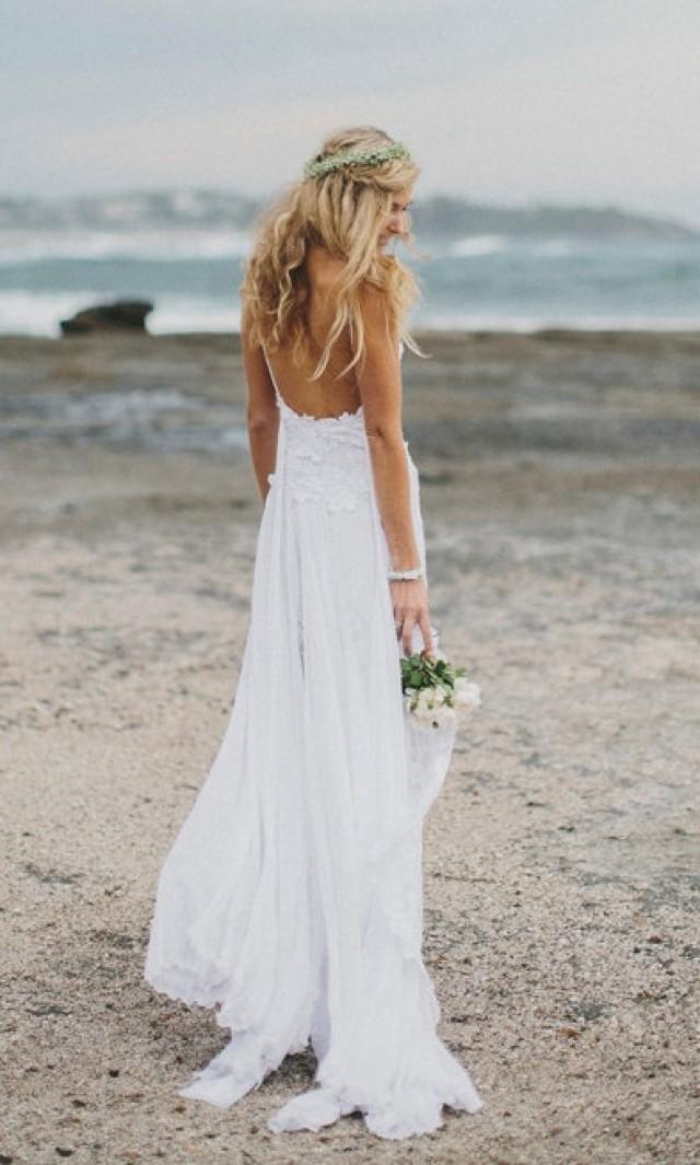 Stunning Low Back White Lace Wedding Dress Dreamy Floaty Skirt