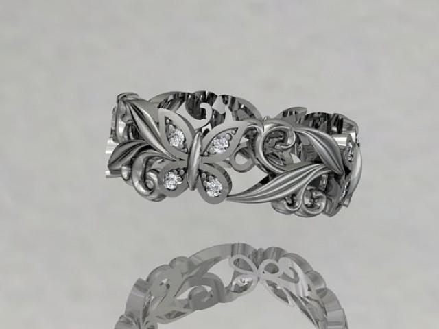 Platinum Diamond Leaf And Vinel Butterfly Wedding Ringengagement