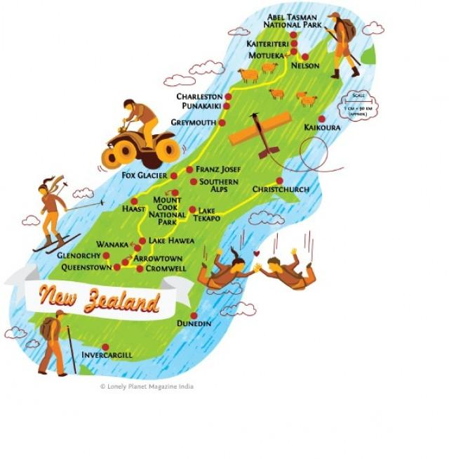 Detailed Map Of New Zealand South Island.Honeymoon New Zealand South Island Map 2051373 Weddbook