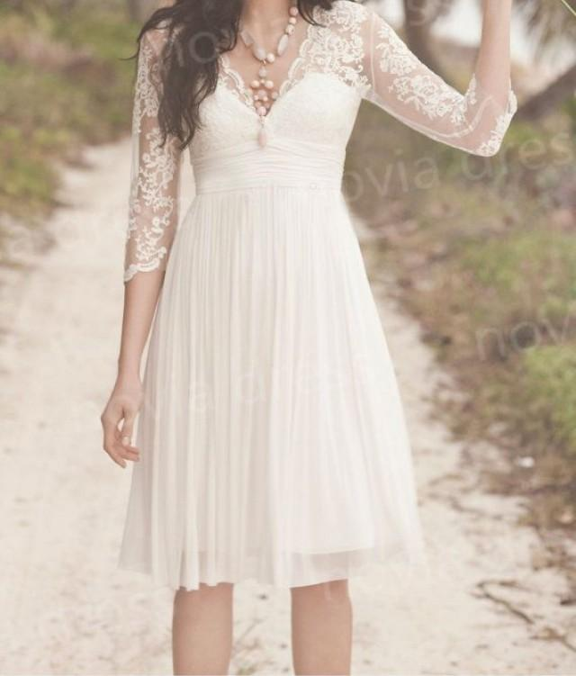 Short bridal gown beach wedding dress lace chiffon prom for Wedding dresses in west palm beach