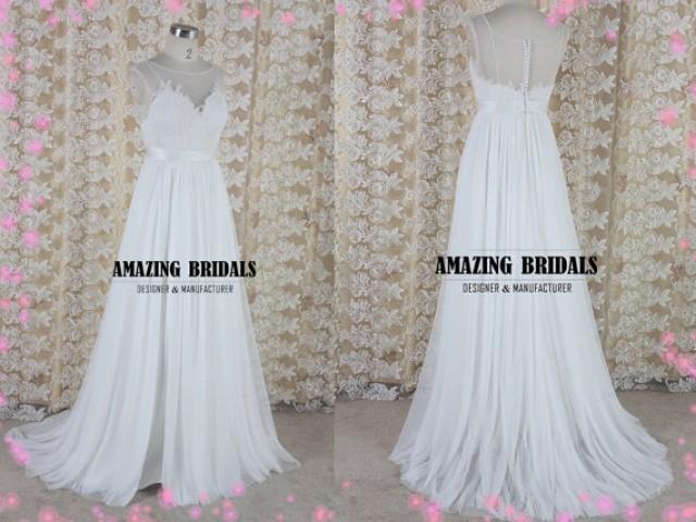 Simple Feminine Tulle Lace Wedding Dress, Wedding Gown