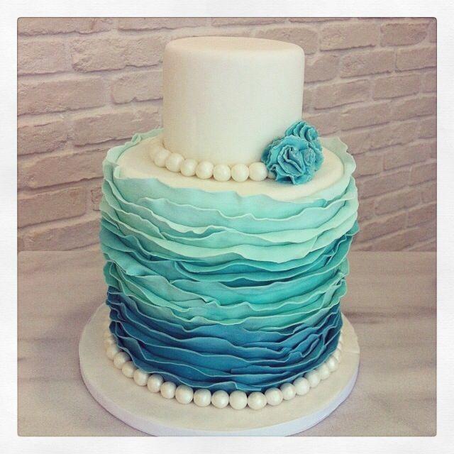 Blue Wedding Cake Ideas: Ruffled Turqoise Ombre Wedding Cake
