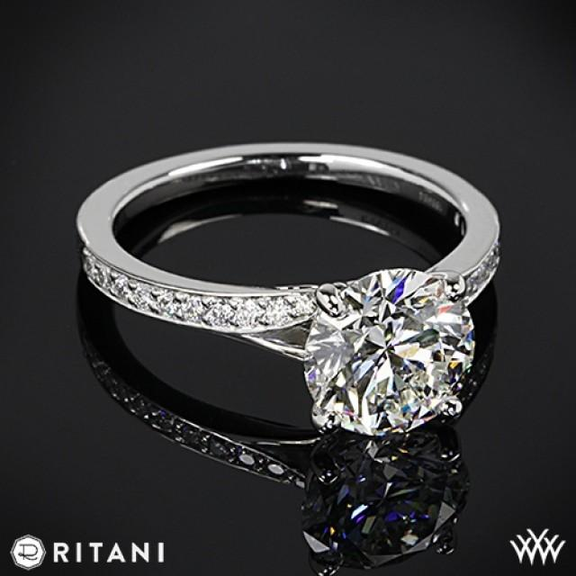 18k white gold ritani modern bypass micropave diamond band engagement ring 2056649 weddbook - Ritani Wedding Rings