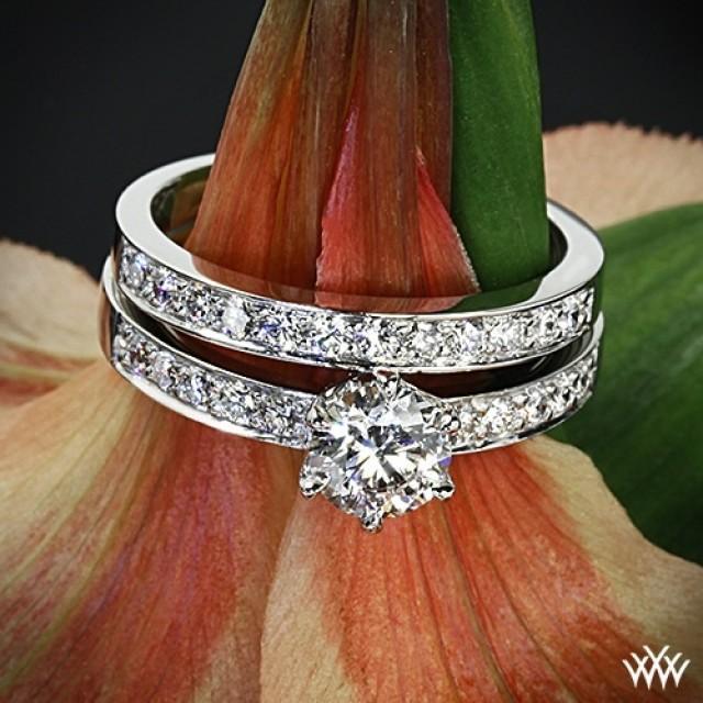 Platinum BeadSet Diamond Engagement Ring And Wedding Ring