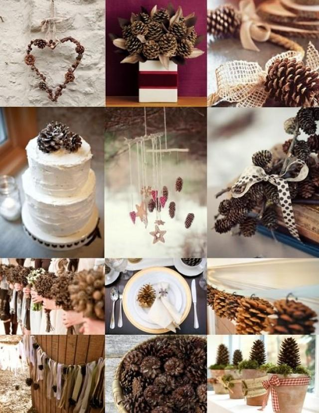 Winter wedding pine cone decoration ideas