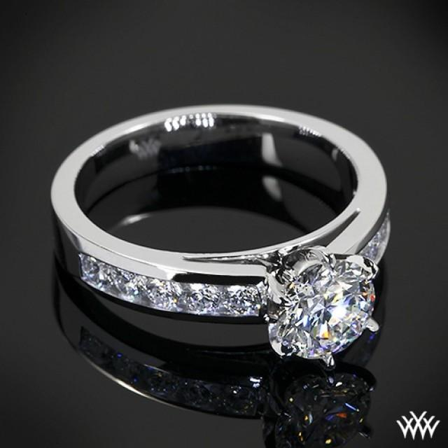18k White Gold Cathedral Channel Set Diamond Engagement Ring