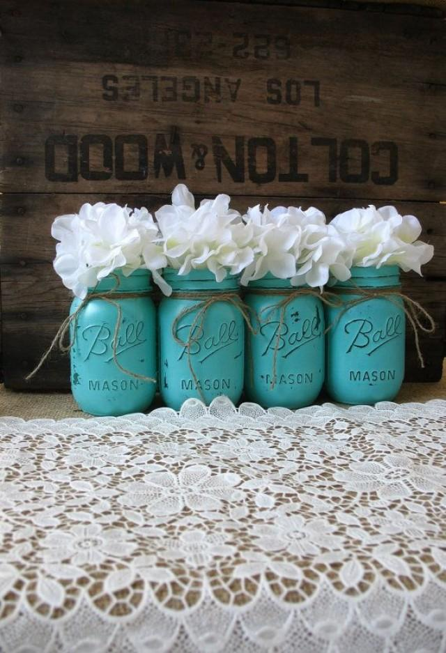 Perfect Mason Jars, Painted Mason Jars, Rustic Wedding Centerpieces, Party  Decorations, Turquoise Wedding #2058419   Weddbook