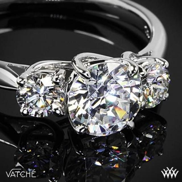 18k White Gold Vatche XProng 3 Stone Engagement Ring Setting Only