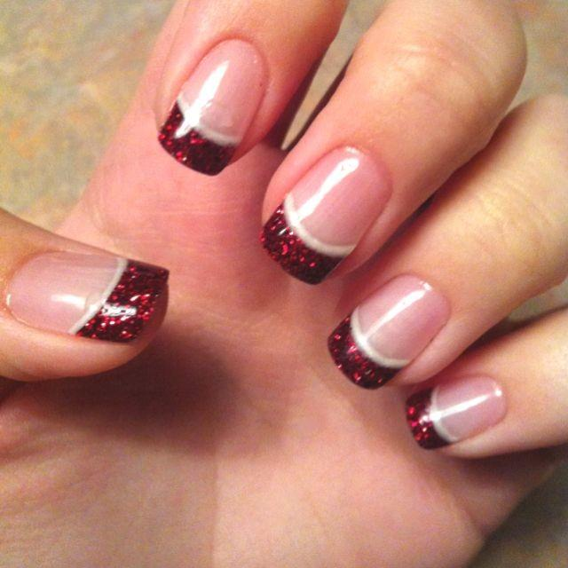 red wedding french manicure with red glitter tips 2061344 weddbook