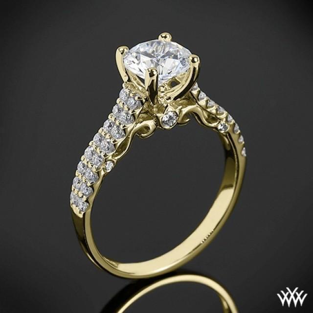 18k Yellow Gold Verragio Zweireihige Shared Prong Diamant
