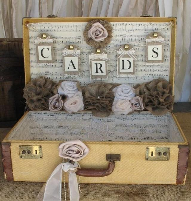 Vintage Suitcase Wedding Card Holder Shabby Chic Wedding Rustic ...
