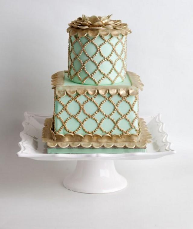 Mint Wedding Mint Gold Wedding Cake 2063494 Weddbook