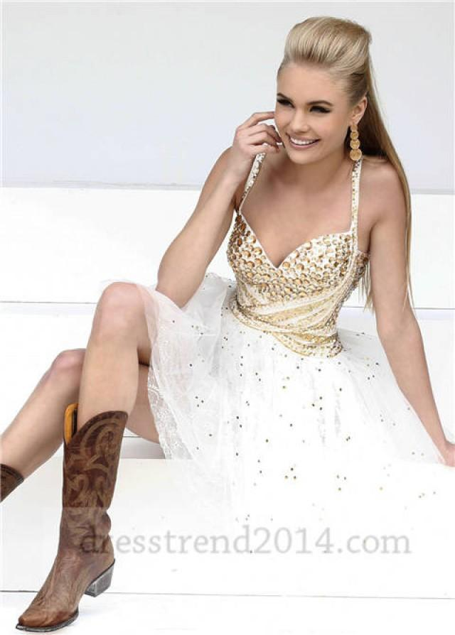 Short White Gold Beaded Prom Dresses For Cheap #2064356 - Weddbook