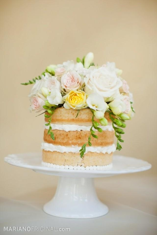 Wedding Cakes - Naked Cake With Flower Topper #2064966 - Weddbook